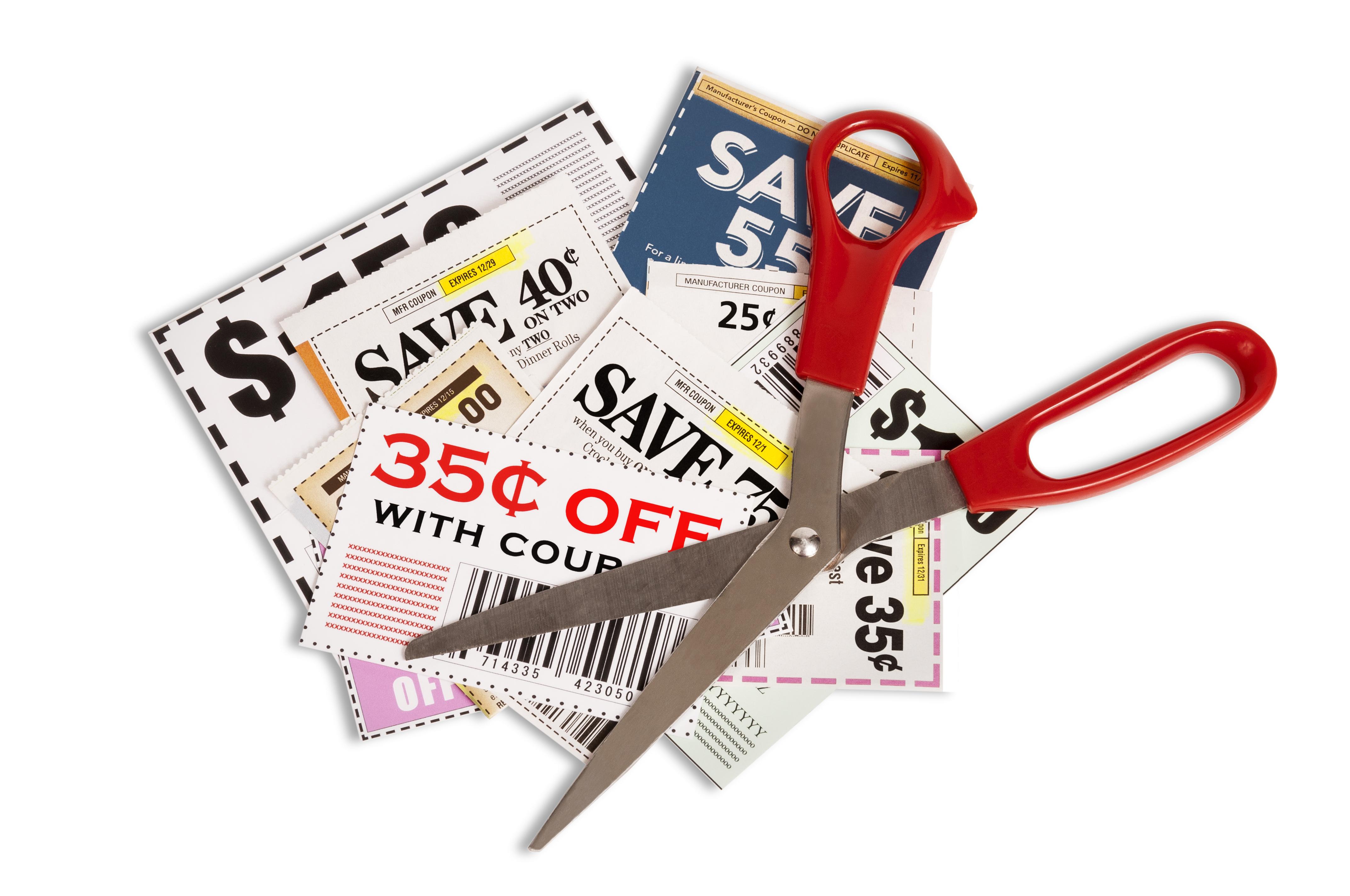 Schaar met coupons -